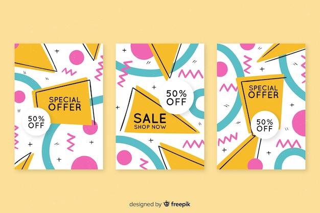 Collection de bannières de vente dans le style memphis Vecteur gratuit