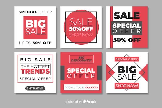 Collection de bannières de vente mode médias sociaux Vecteur gratuit