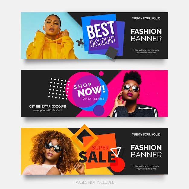 Collection de bannières de vente de mode moderne Vecteur gratuit