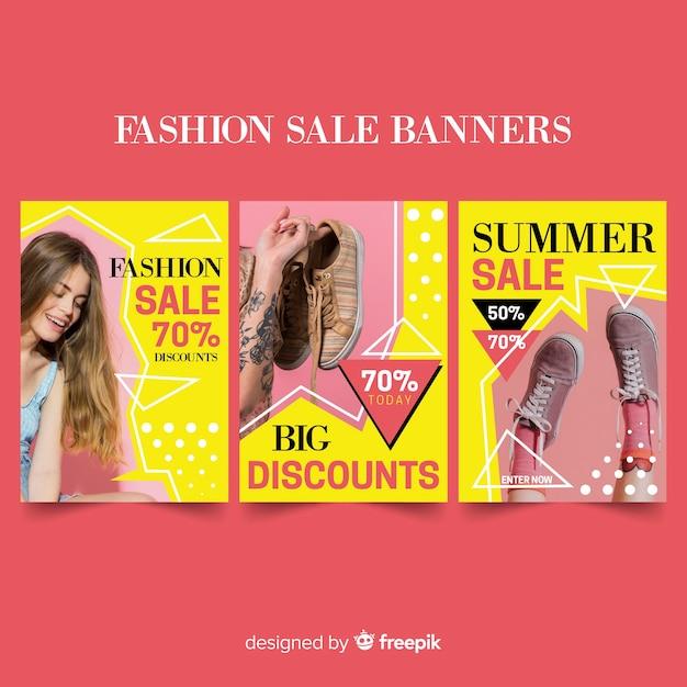 Collection de bannières de vente de mode Vecteur gratuit