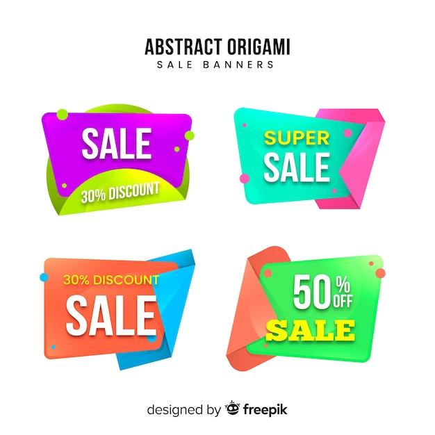 Collection de bannières de vente en origami Vecteur gratuit