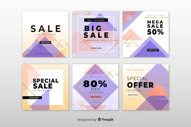 Collection de bannières de vente pour les médias sociaux Vecteur gratuit