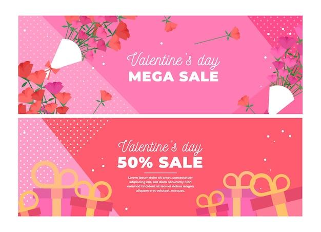 Collection De Bannières De Vente Saint Valentin Dessinés à La Main Vecteur gratuit
