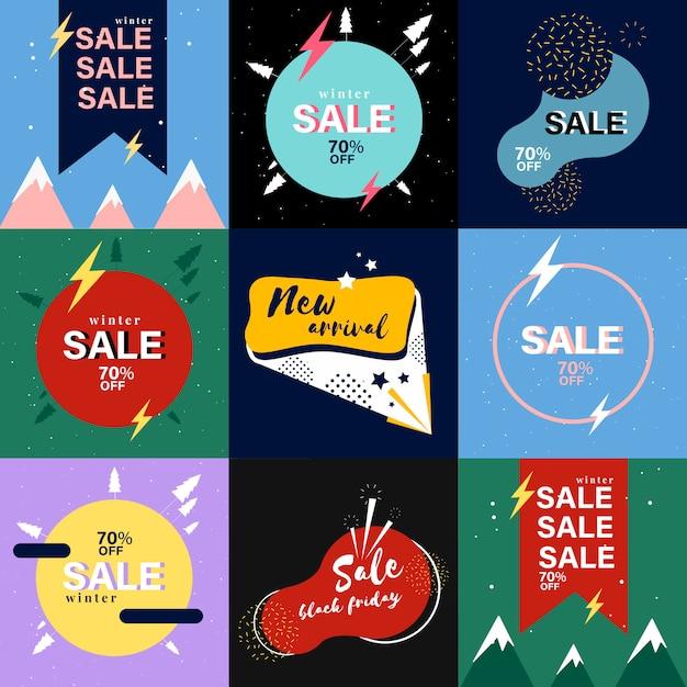 Collection de bannières de vente Vecteur gratuit