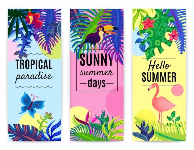 Collection de bannières verticales du paradis tropical Vecteur gratuit