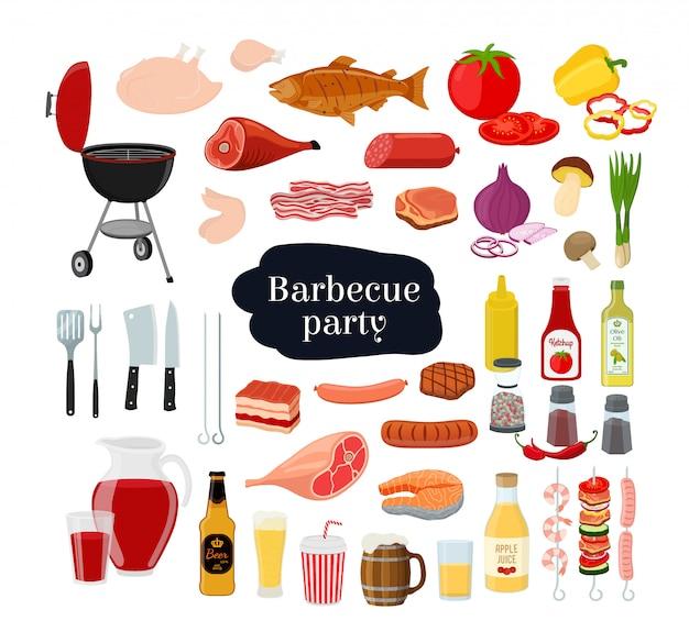 Collection Barbecue - Grill, Fourchette, Viande Différente, Fruits De Mer Avec Légumes Et Boissons Vecteur Premium