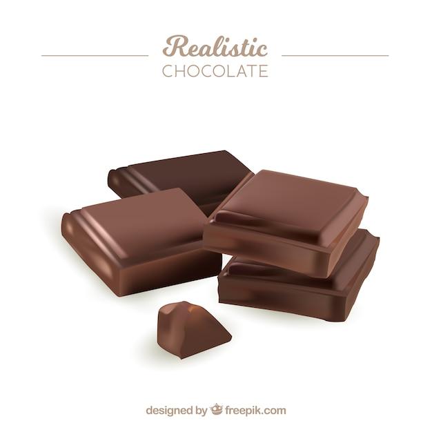 Collection de barres de chocolat dans un style réaliste Vecteur gratuit