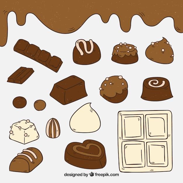 Collection de barres de chocolat dessinés à la main Vecteur gratuit