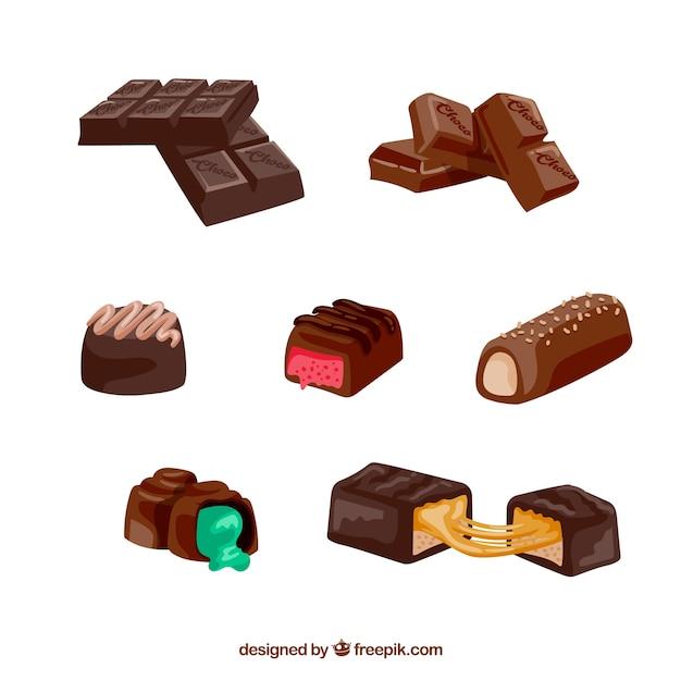 Collection de barres de chocolat réalistes Vecteur gratuit