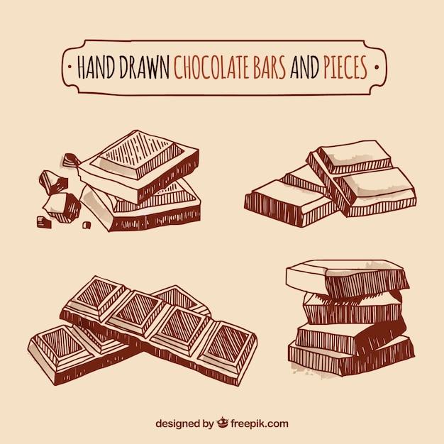Collection De Barres Et De Morceaux De Chocolat Vecteur gratuit