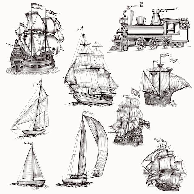 Collection de bateaux à main dessinée Vecteur gratuit