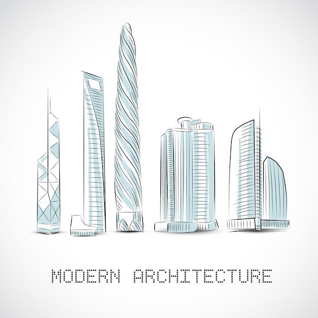 Collection de bâtiments de gratte-ciel modernes Vecteur gratuit
