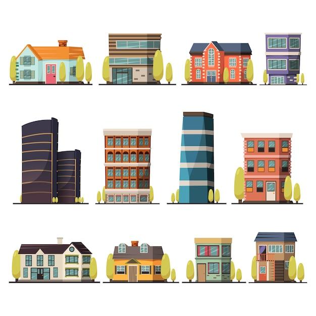 Collection de bâtiments Vecteur gratuit