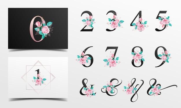 Collection de beaux alphabet nunber avec aquarelle décoration florale Vecteur Premium