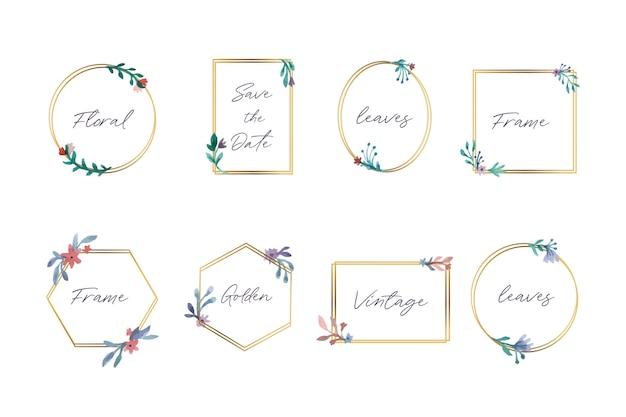 Collection de beaux cadres floraux Vecteur gratuit