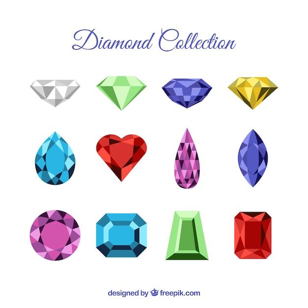 Collection de beaux diamants et pierres précieuses Vecteur gratuit