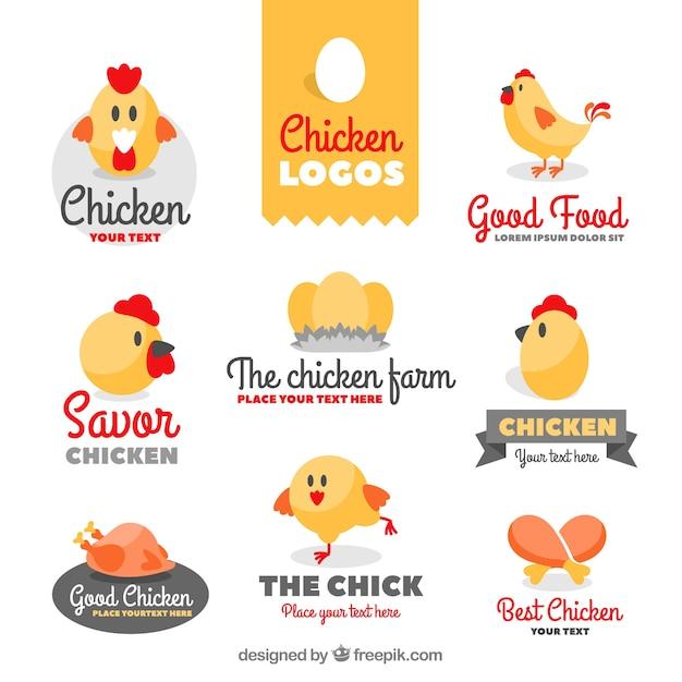 Collection de beaux logos de poussins Vecteur gratuit
