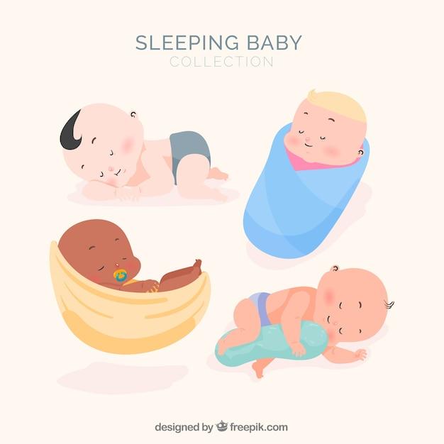 Collection de bébé endormi avec un design plat Vecteur gratuit