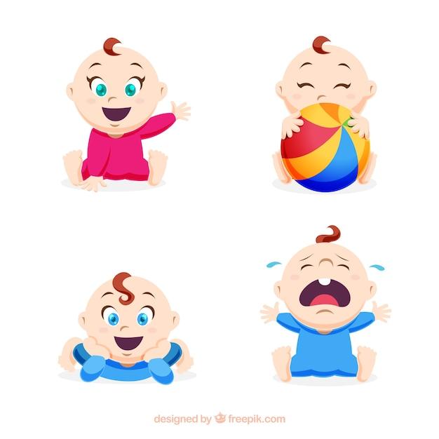 Collection de bébés dans le style plat Vecteur gratuit