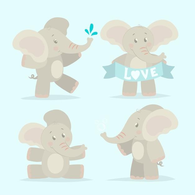 Collection De Bébés Drôles D'éléphant Vecteur Premium