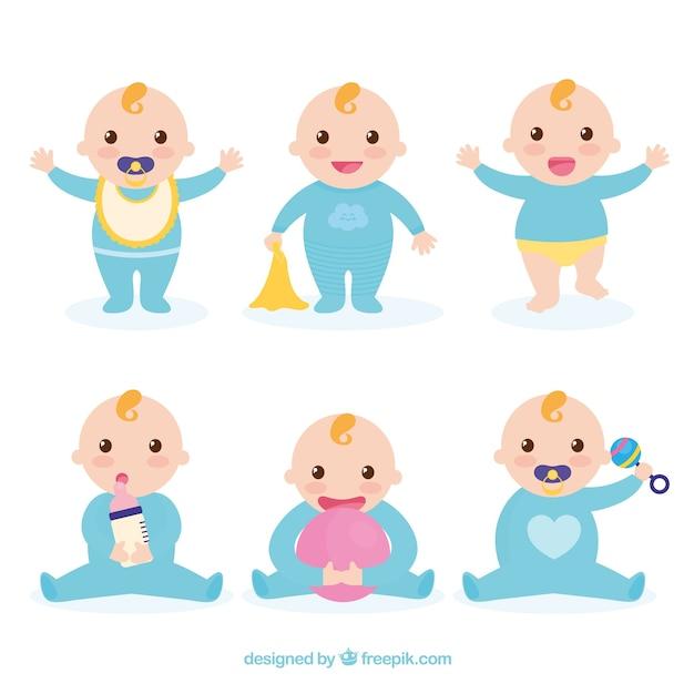 Collection De Bébés Avec Des Poses Différentes Vecteur gratuit