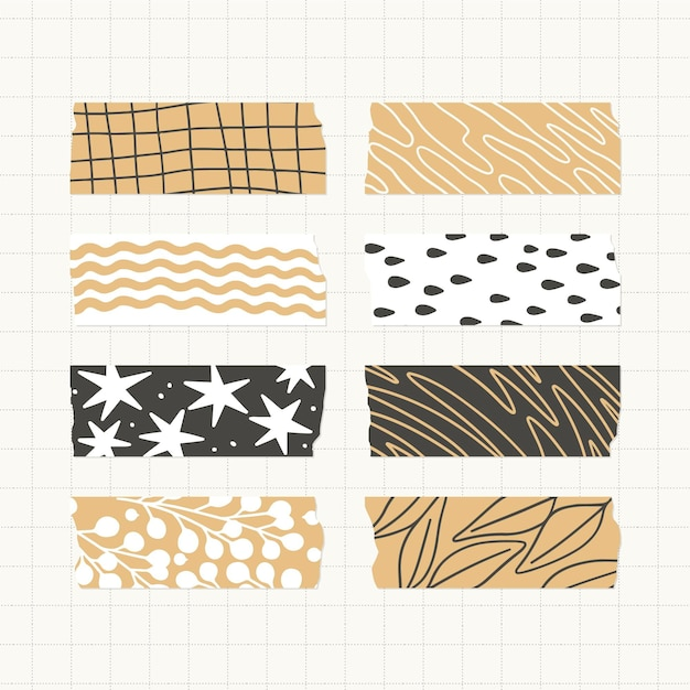 Collection De Belles Bandes Washi Plates Vecteur gratuit