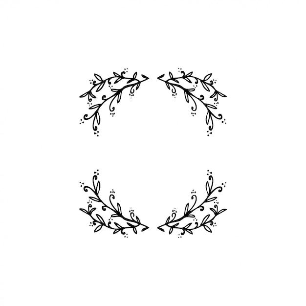 Collection de belles couronnes florales vector Vecteur Premium