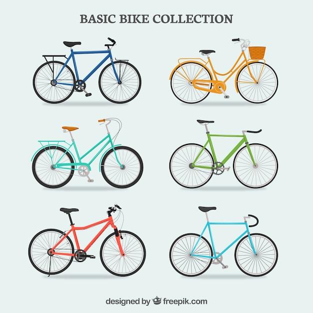 Collection De Bicyclette Colorée Vecteur Premium