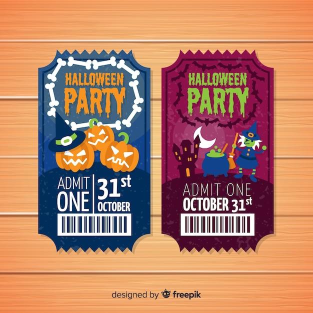 Collection de billets pour la fête d'halloween Vecteur gratuit