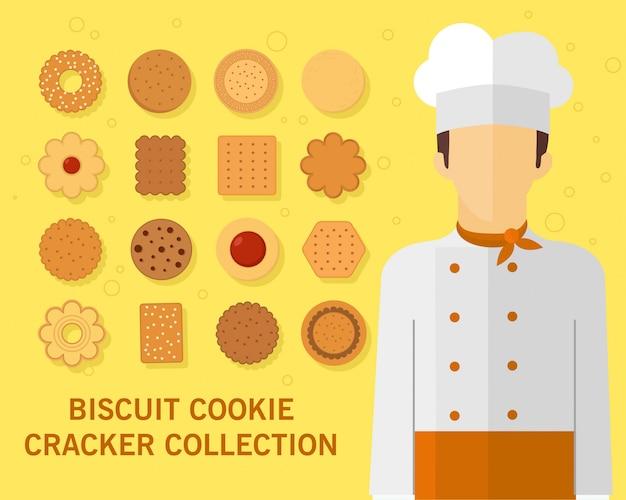 Collection de biscuits biscuits Vecteur Premium