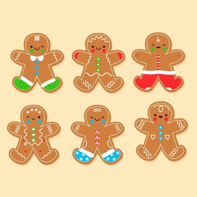 Collection de biscuits de bonhomme en pain d'épice design plat Vecteur gratuit