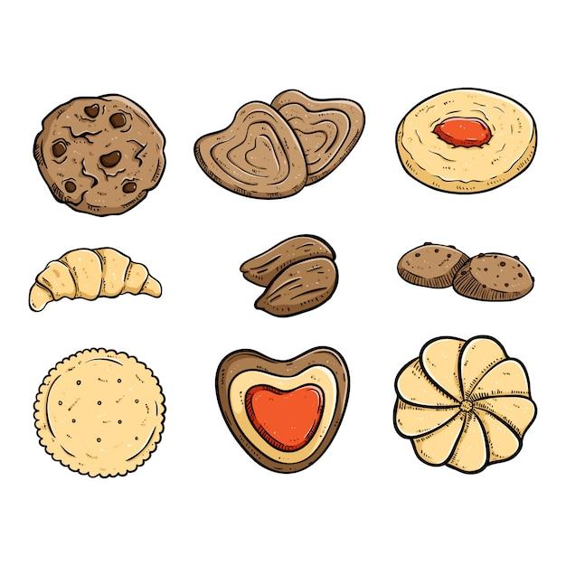 Collection de biscuits délicieux avec style coloré dessinés à la main Vecteur Premium