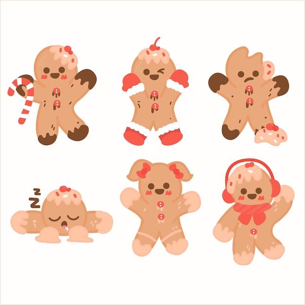 Collection de biscuits dessinés à la main de bonhomme en pain d'épice Vecteur gratuit