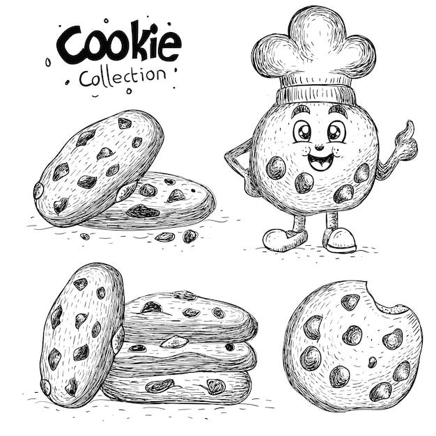 Collection De Biscuits Dessinés à La Main Vecteur Premium