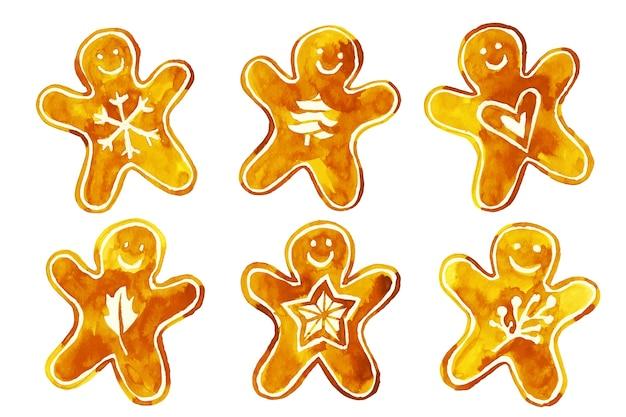 Collection de biscuits de pain d'épice à l'aquarelle Vecteur gratuit