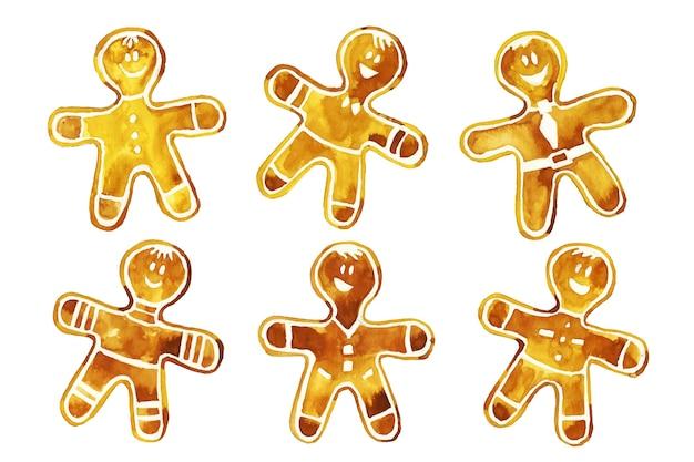 Collection de biscuits pour homme en pain d'épices aquarelle Vecteur gratuit