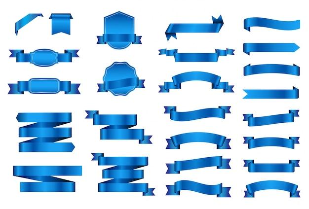 Collection Blue Ribbons Vecteur gratuit