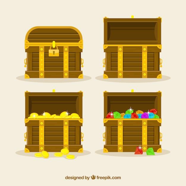 Collection de boîte au trésor en bois avec un design plat Vecteur gratuit
