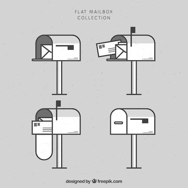 Collection de boîte aux lettres plate Vecteur gratuit