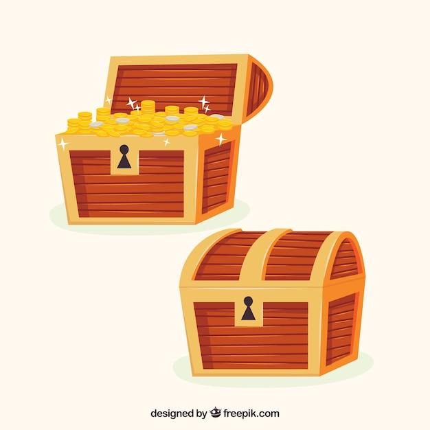 Collection de boîte aux trésors anciens avec design plat Vecteur gratuit