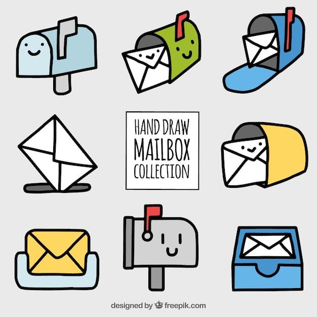 Collection de boîtes aux lettres dessinées à la main agréable Vecteur gratuit