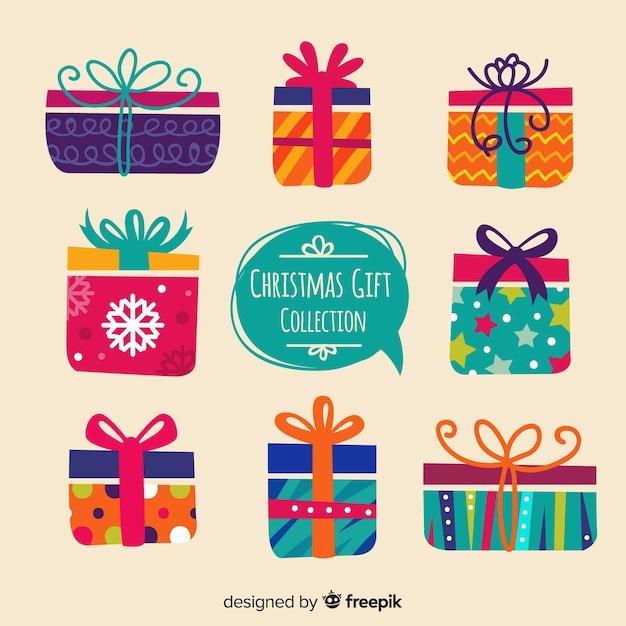 Collection de boîtes de cadeau de noël avec motif géométrique Vecteur gratuit
