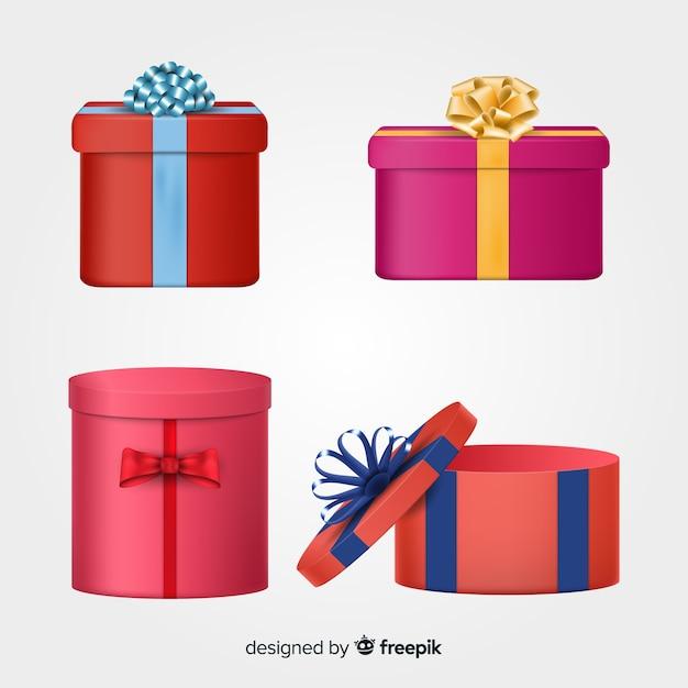 Collection de boîtes de cadeaux de noël réalistes Vecteur gratuit