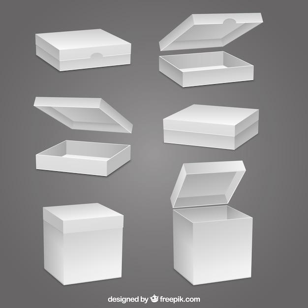 Collection de boîtes vides Vecteur gratuit