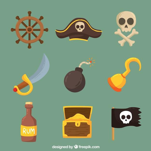 Collection de bombes et d'autres éléments pirates Vecteur gratuit