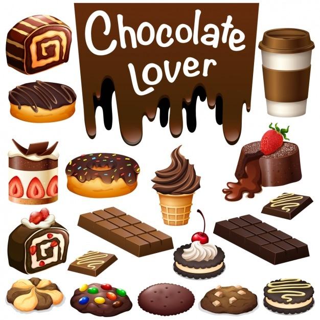 Collection de bonbons de chocolat Vecteur Premium