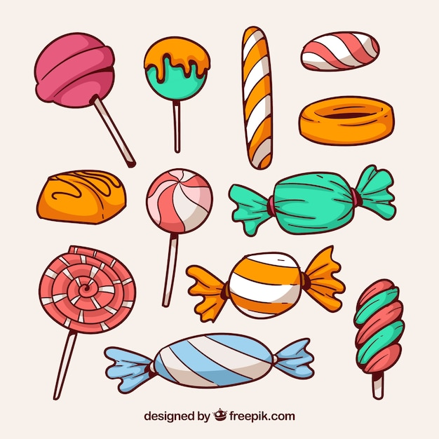 Collection de bonbons colorés dans un style dessiné à la main Vecteur gratuit