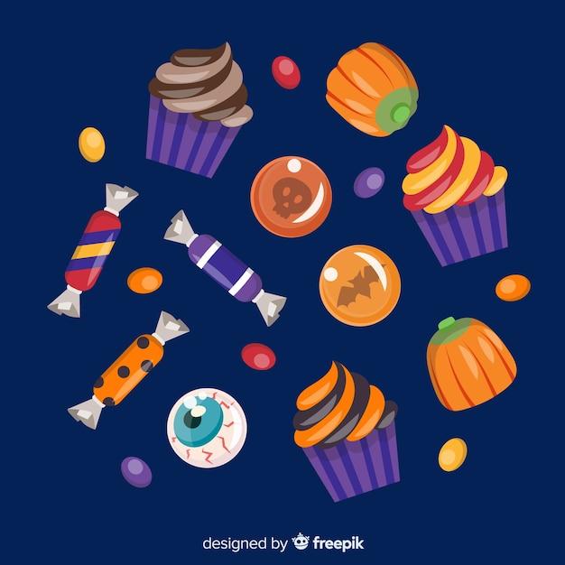 Collection de bonbons colorés d'halloween au design plat Vecteur gratuit