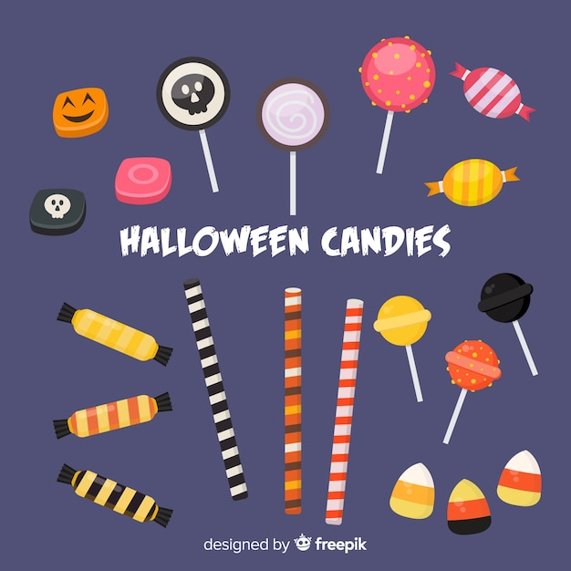 Collection de bonbons colorés d'halloween avec un design plat Vecteur gratuit