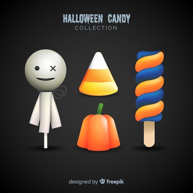 Collection de bonbons colorés d'halloween avec un design réaliste Vecteur gratuit
